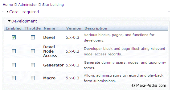 Drupal Devel module installation