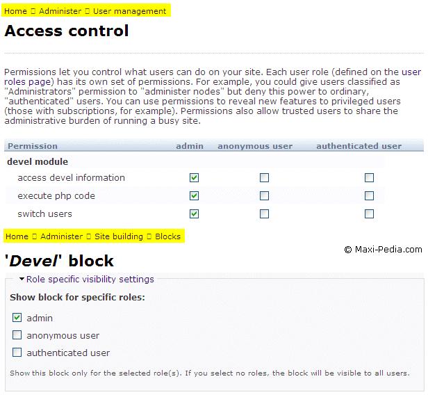 Drupal Devel module security