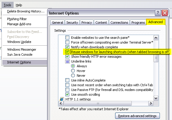 Internet Explorer reuse windows for launching shortcuts