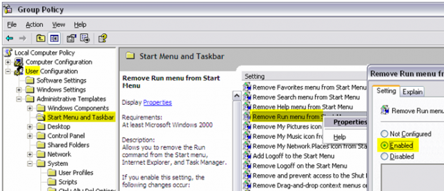 Group policy: Remove Run menu from Start menu