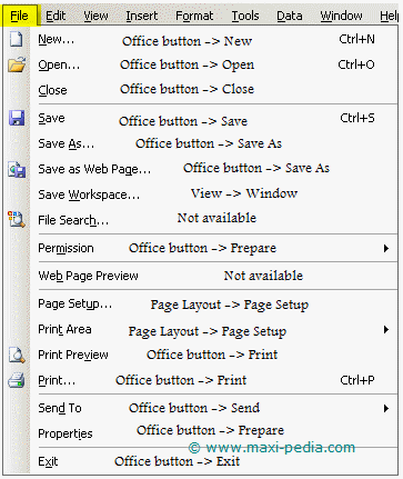 Excel 2003 FILE menu translated into Excel 2007