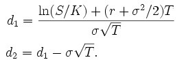 Black Scholes formula calculation of N parameters