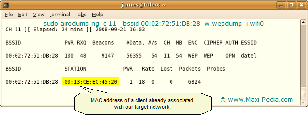 How to crack WEP - airodump-ng capture MAC address